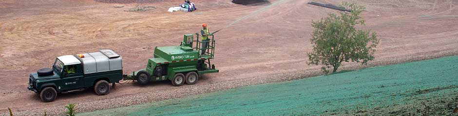 Hydro Turf Grass Establishment - Hydroseeding, Hydro Turf Lawn™, Green Roof Seeding, Conventional Seeding, Specialist Services - Flexterra, Green Armor, Golf courses, Golf Course Greens, Airfields, light aircraft parking areas, Embankments, Reclamation, Landfill cover, ADC, Hydro Glue, Dust suppression